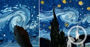 a dark water recreation of van gogh s starry night using paper marbling techniques colossal
