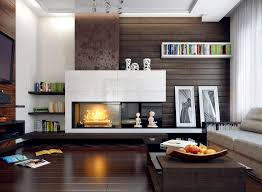 Small Picture Contemporary Living Room with Wood panel wall Built in bookshelf