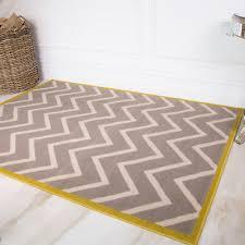 ochre yellow bordered zig zag rug grey geometric rug chevron living room rugs