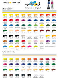 Daler Rowney System 3 Colour Chart In 2019 Paint Charts