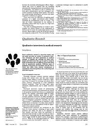 Pdf Qualitative Interviews In Medical Research