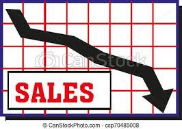 Down Arrow Chart Black Moving Down Arrow Financial Chart Vector Illustration