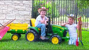 ride on john deere tractor for kids unboxing review and riding