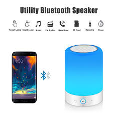 Mrcool Touch Bedside Lamp With Bluetooth Speaker Dimmable Warm White Table Lamp Rgb Colour Changing Led Speaker Mood Light Best Gift For Women