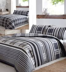rhode island single duvet cover set stripes checks black grey blue