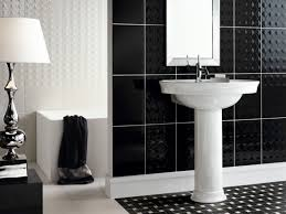 Bathroom Ceramic Tile Flooring Black Polished Metal Frame Glass ...