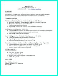 Civil Engineer Resumes Sample Resume For An Entry Level Civil