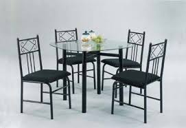 5pc metal dining table chairs set black finish