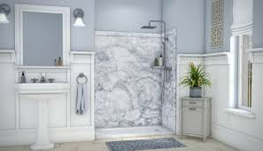 faux granite diy grout free shower wall panels make a do it yourslef shower installation simple