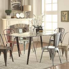 dining room chairs phoenix new bellevue rectangular gl dining table with metal legs coaster