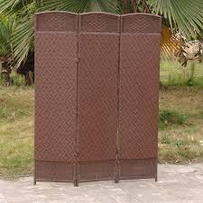 outdoor 3 panel privacy screen designs outdoor indoor woven resin 3 panel room divider cappuccino hayneedle