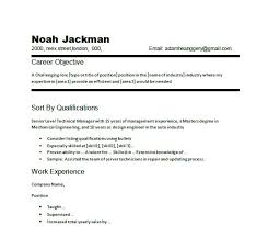Resume Career Objective Example chronological resume of technical manager