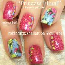 Vintage Rose Nail Art Design Tutorial | Antique nails with Glitter ...