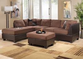 stunning brown living room furniture decorating ideas brown microfiber sectional sofa square brown ottoman coffee table