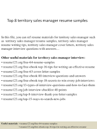 Top 8 territory sales manager resume samples In this file, you can ref  resume materials ...