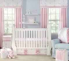 ... Engaging Pink Girl Baby Nursery Room Design And Decoration Using Ruffle  Light Pink Baby Bed Valance Including White Wrought Iron Baby Cribs And  Light ...