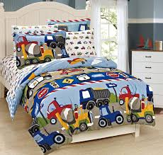 boys comforter set mk collection 7 pc full size kids teens blue red yellow trucks tractors