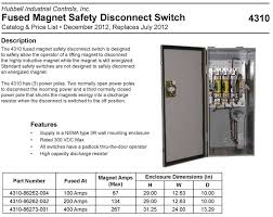 hubbelldirect com products disconnect switches lifting magnet disconnect switch type 4310