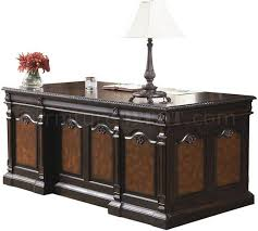 classic office desks. Two-Tone Brown Massive Classic Office Desk W/Carving Details Desks