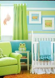 baby nursery ideas with striped walls and frog motif. Another variation of  blue and green ...