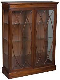 mahogany bookcase glass doors