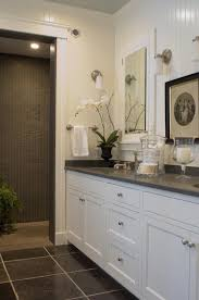 white bathroom cabinets. Fine Cabinets Beautiful White U0026 Gray Bathroom Design With Beadboard  Cabinets Corian Counter Tops Double Sinks Recessed Mirrored  Inside White Bathroom Cabinets E