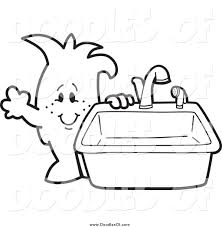 kitchen sink clipart black and white. vector clipart of a doodled squiggle guy standing by kitchen sink black and white