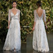 discount vintage 2016 silver lace wedding dresses a line plunging