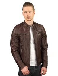 leather jacket men brown tr44 versano front model3