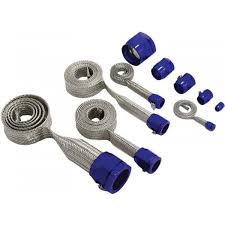 <b>Universal Stainless Steel</b> Braided Hose Cover Set-Blue Clamps ...
