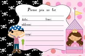 princess and pirate invitation templates com princess birthday invitation girl pirate boy by pinkthecat