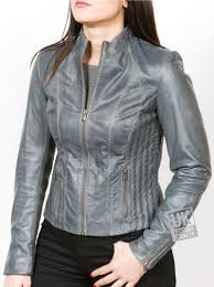 women s grey leather jacket pandora main