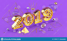2019 Happy New Year Isometric 3d Illustration For Poster Or Greeting