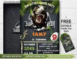 Jurassic Park Invitations U S Version Jurassic World Legacy Extreme Chompin