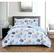 coastal life bedding lo 3 piece white blue marine quilt queen set starfish seas seahorse nautical