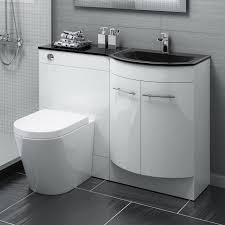 1200mm Alexis Gloss White Combined Vanity Unit Black Glass Basin