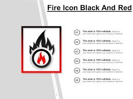 Fire Icon Black And Red Ppt Example File Presentation