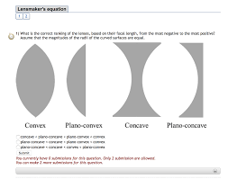 lensmakers equation 1 what is the correct ranking of the lenses based on their
