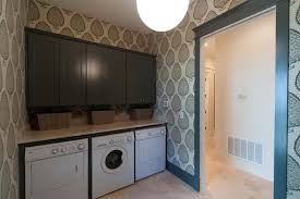 Awesome View Full Size. Beach Cottage Laundry Room Features Walls Clad In Katie  Ridder Leaf Wallpaper ...