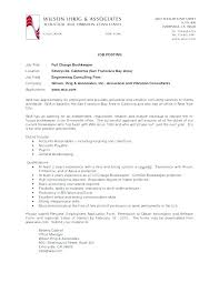 Bookkeeping Description Full Charge Book Keeper Job Description ...