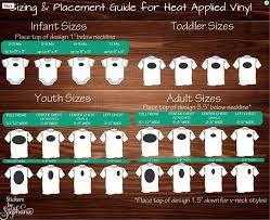 Heat Transfer Vinyl Design Sizing Charts T Shirt Onesies