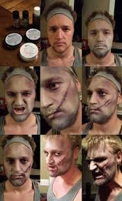 zombie makeup how to step by step by mesha sanchez using ben nye theatrical cream makeup