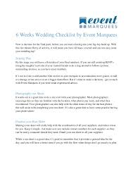 what you need for a wedding checklist 6 weeks wedding checklist