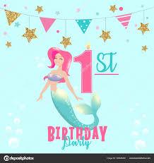 1st Birthday Party Invitation Template Mermaid Birthday Invitation Template Colorful Vector