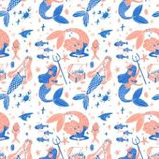 Mermaid Pattern Simple Mermaid Pattern For Tea Collection Graphisme Illustration