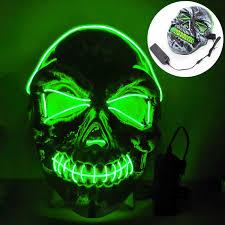 Light Up Skull Mask Amazon Com Turnmeon Halloween Led Mask Scary Skeleton Mask