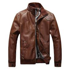 plus size mens fashion black faux leather jacket stand collar motorcycle slim fit coat cod