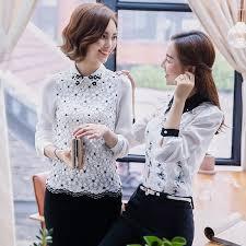 hot office pic. 2017 New Hot Fashion Sweet Elegant Women Chiffon Blouse Slim Office Lady Long Sleeved Lace Shirt Pic