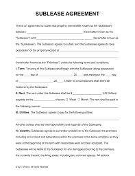 Sublease Contract Free SubLease Rental Agreement Template PDF Word eForms Free 1