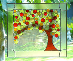 stained glass window panels trees ideas